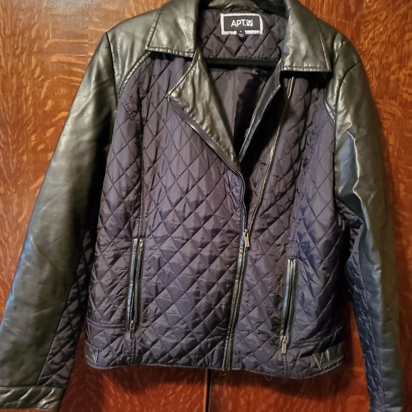 Apt. 9 Jackets & Blazers - Womens Apt. 9 Black Leather/quilted polyester Jack